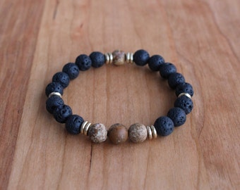 Lava + Picture Jasper Beaded Bracelet