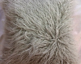 gray mongolian faux fur pillowfaux suede backneutral pillow throw pillow cover
