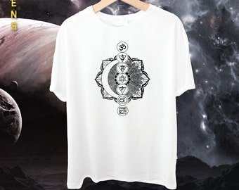 Chakras Om Moon Lotus Mandala Tee / Tshirt for Men, Handmade and Unique
