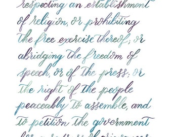 Hand-lettered First Amendment watercolor print