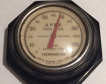 Vintage Apex Motor Fuel Co. Hexagonal Thermometer