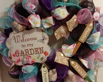 Deco Mesh Wreath, Spring Wreath, Summer Wreath, Front Door Wreath, Garden Decor, Garden Wreath, Front Door Decor, Outdoor Decor
