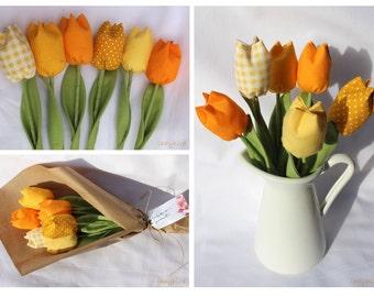 Teacher gift - fabric tulips bouquet