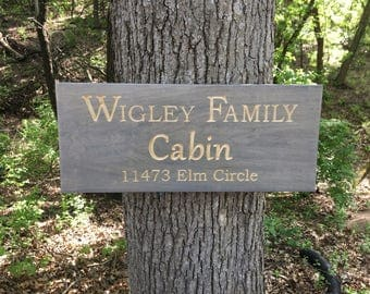Cabin Wood Sign, Carved Wooden Sign, Personalized Sign, Carved Wood, Family Cabin,Father's Day Gift, Cabin Sign With Name, Lake House Sign
