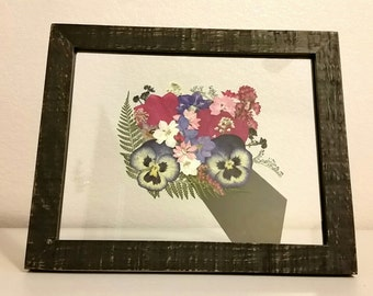 Framed Pressed Flowers- Pink and Purple