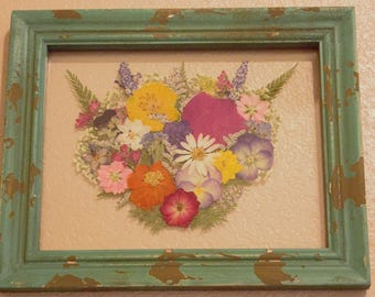 Framed Pressed Flowers- Multicolored