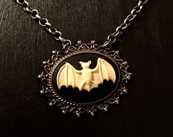 Victorian bat cameo~ goth~witchy~dark arts