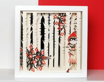 RED    Little Red Riding Hood, Enchanting Box-Frame from Papercult Design.