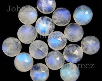 20 pieces natural rainbow moonstone round rose cut loose gemstone