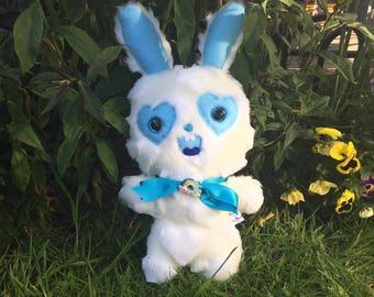 White Bunny Rabbit Teddy Ugly Cute Toys Creepy Cute Plush Weird Stuffed Animal Kawaii Plushie Cuddly Monster OOAK Doll Happy Tree Friends