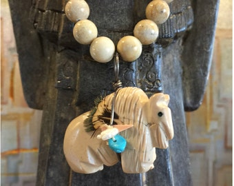 Vintage Native American Brown Turquoise Buffalo Pendant Necklace