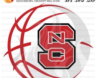 Digital SVG Cutting File, NCSU North Carolina State Wolfpack Logo Basketball, Raleigh, Svg, Png, Dxf, Eps file