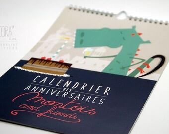 Calendar of birthdays Mons and friends
