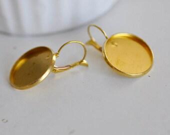 Set of 10 blank tray gold raw brass Stud Earrings