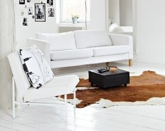 Luxury cowhide rug. Large Brown and White cow skin. 100% Natural Cowhide Leather Rug. Shiny cowhide rug.