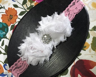 White & coral lace headband