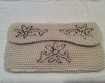 Vintage beaded hand bag, clutch, evening bag, pearl beads, white, floral