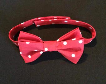 Toddlers Red and White Polka Dot Bow Tie, Red Polka Dot Bow Tie, Boys Red & White Tie, Polka Dot Bow Tie, Adjustable Bow Tie, Baby Bow Tie
