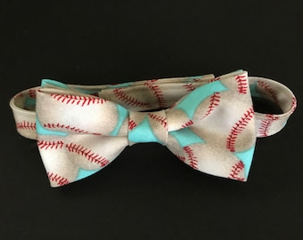 Baseball Print Boys Bow Tie, Baby Boys Baseball Bow Tie, Toddlers Baseball Bow Tie, Aqua, Tan & Red Baseball Print Bow Tie, Adjustable Tie