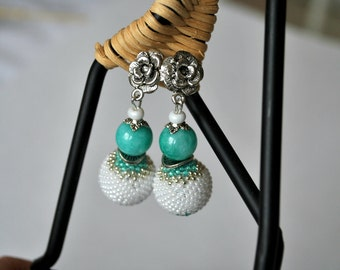 Bead Crochet Earrings Pearl earrings Turquoise earrings Globe earrings Wedding Jewelry
