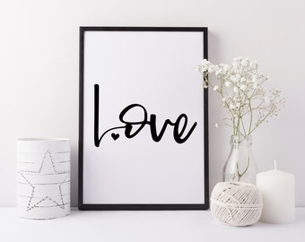 Love romantic art print - Handwriting style love print - Monochrome love print - Modern bedroom art - Monochrome decor - Valentines gift