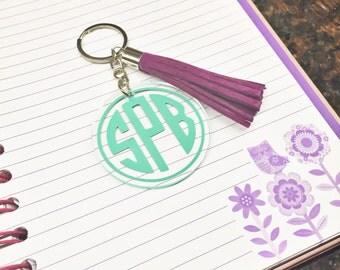Monogram Keychain, Tassel Keychain