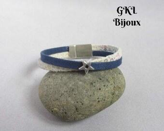 Bracelet leather blue/multicolor passing star