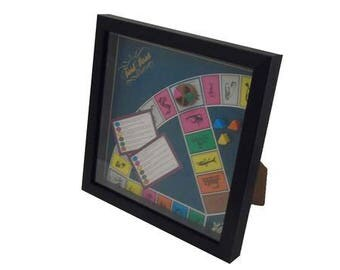 Trivial Pursuit Board Game Framed Upcycled Art - Pink