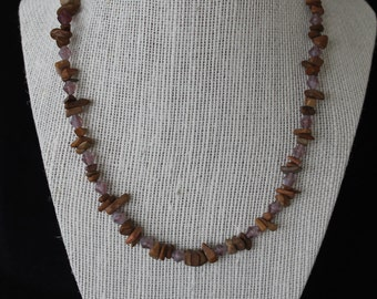 Purple and Wooden Beaded Necklace
