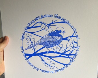 Hope is the thing with feathers, Inspirational Poetry Quote with Bird and Leaves - A3 Screenprint