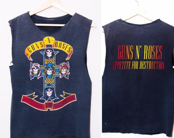 RARE 1980's Guns N Roses Appetite For Destruction Tour Tank Top | Size Small
