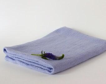 Washed Waffle Linen Bath Towel Pastel Blue