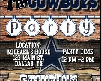 Dallas Cowboys 5x7 Printable Birthday Party Invitation Digital Download