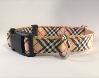 "1"" wide Tan ""Burberry style"" plaid adjustable dog collar"