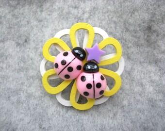 Pink Ladybugs Brooch    pin \\ flower \\ zoo \\ star \\ ladybird \\ wood