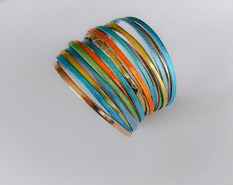 Bracelet leather woman/cuff leather woman/bow in sky/made in real France/leather/ rainbow