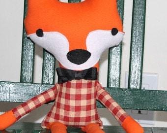 Fox, Orange Fox, Fox, Plaid Fox, stuffed, Toy Fox, shabby chic, Home Decor,  Gingham, Nursery Decor, Stuffed animal, party Favors, boy fox
