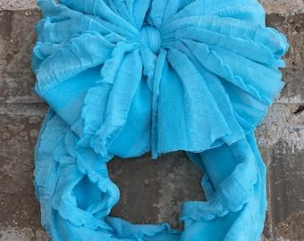 Light Cyan Blue Ruffle Messy Bow Headband