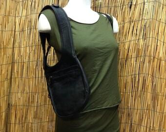 Festival shoulder holster bag waist pouch utility belt leather sling bag / black / strap / hand made / Unisex