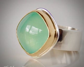 Cushion Cut Green Chalcedony With 18k Yellow Gold and Sterling Silver Ring
