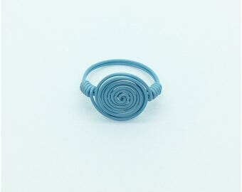 Blue Wire Wrapped Ring, Spiral Wire Ring, Powder Blue Ring, Spiral Ring, Blue Spiral Wire Ring, Blue Wire Ring, Wire Wrapped Ring