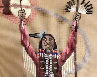 """Vintage Limited Edition Needlepoint Canvas.  """"The Great Spirit"""" by Robert Redbird."""