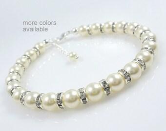 Mother of the Bride Gift Bracelet, Mother of the Groom Gift Bracelet, Ivory Pearl Bracelet, Swarovski Bracelet, Wedding Bracelet
