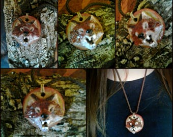 Wolf necklace in natural clay