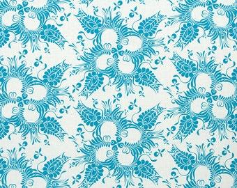 Linen Fabric By the yard Botanical Aqua on Ivory