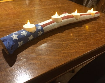 """American flag log candleholder with 4 flameless tealights, tealight holder, patriotic candle, reclaimed log tealight candle holders  19""""L, 3"""