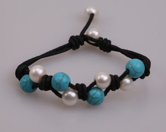Women Pearl Turquoise Stone Bracelet,Black Leather Pearl Bangle,Knotted Pearls Jewelry,Round Beaded Bracelet,Adjustable Wristband,B0015