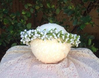 Baby's breath flower crown, boho wedding, white flower girl crown, festival flower crown, hippie flower crown, first communion crown