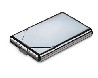 Cigarette case chrome business card box free engraving