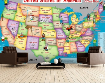 self adhesive peel and stick wall mural, education map, wall sticker, vinly wallpaper, children world map, pirate world map, kids map